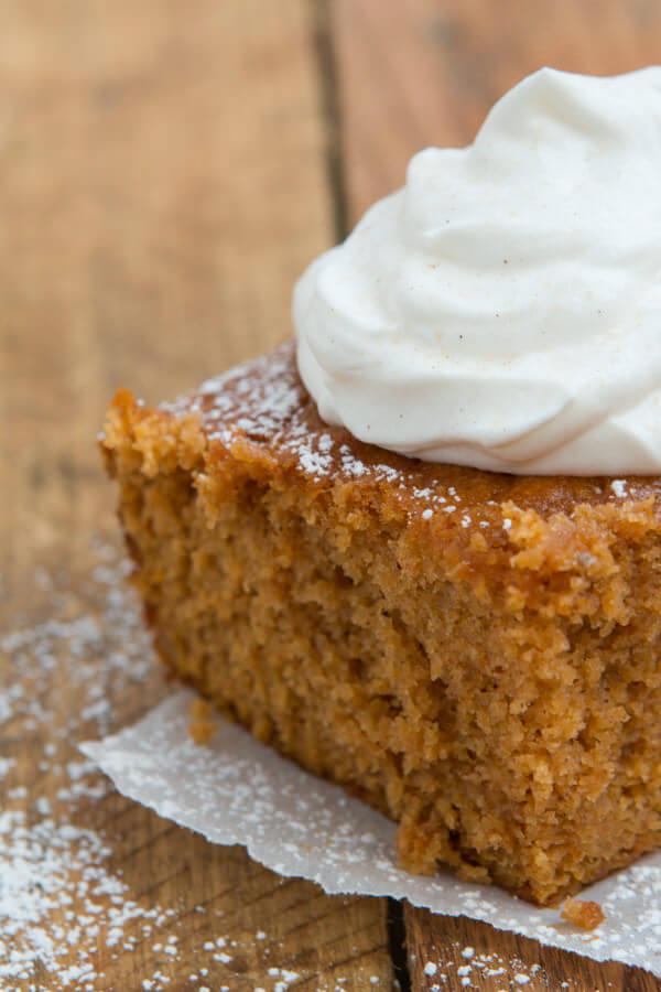 Pumpkin Pie Cake that anyone can make ohsweetbasil.com