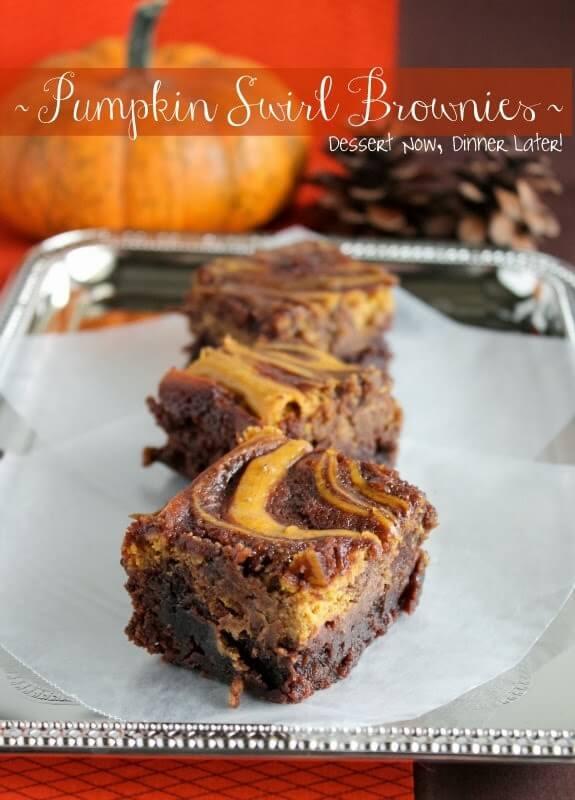 Pumpkin Swirl Brownies from DessertNowDinnerLater.com