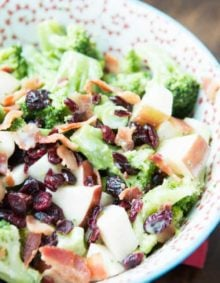 Broccoli Salad with apples and craisins ohsweetbasil.com