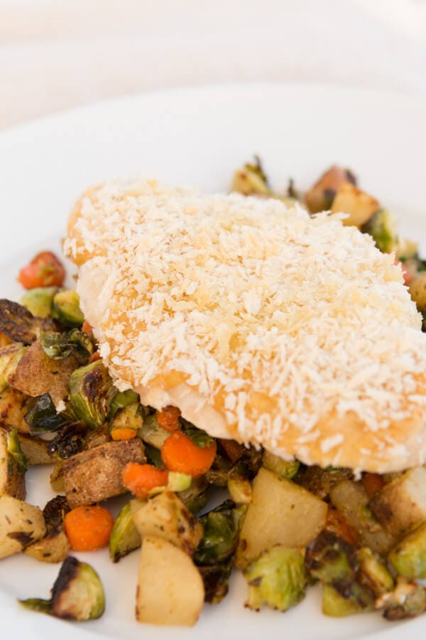 healthy chicken and hummus with a potato and carrot hash ohsweetbasil.com