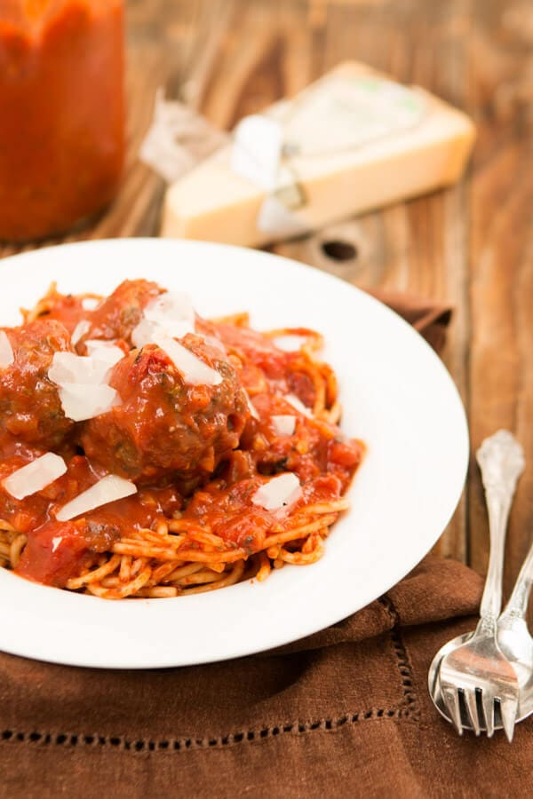 The classic spaghetti and meatballs is making a comeback!! A savory sauce simmering on the stove and plump meatballs are begging to be dinner!