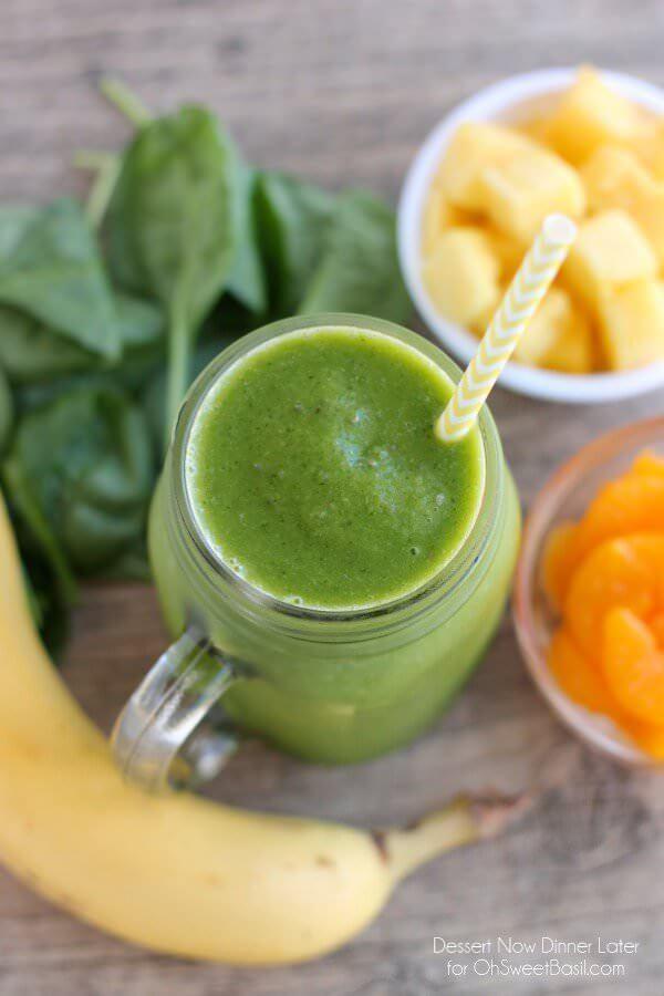 Pineapple Orange Banana Green Smoothie Oh Sweet Basil