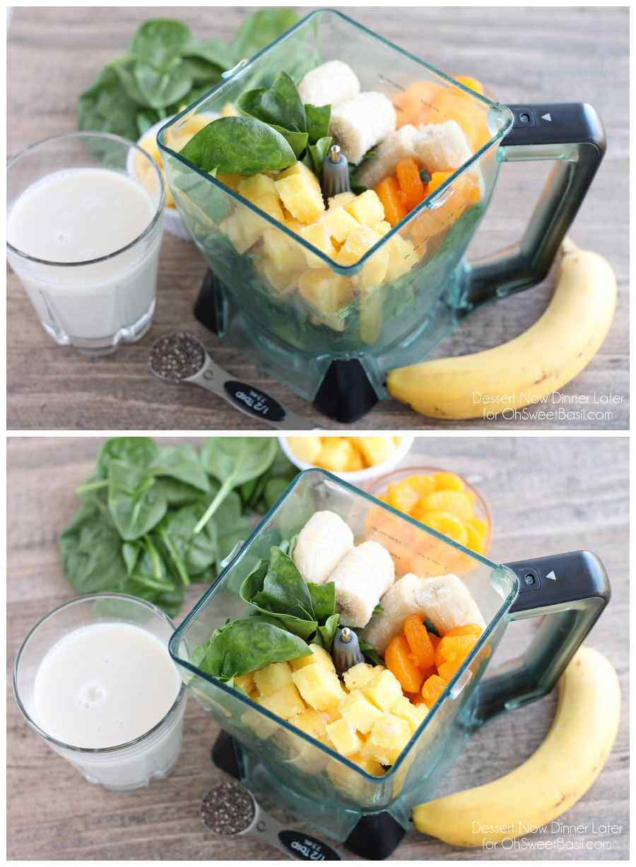 This Pineapple Orange Banana Green Smoothie is fruity and refreshing with chia seeds to add fiber and protein for additional nutrition! From Dessert Now Dinner Later for OhSweetBasil.com