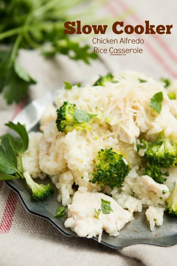 Easy slow cooker chicken alfredo rice casserole ohsweetbasil.com