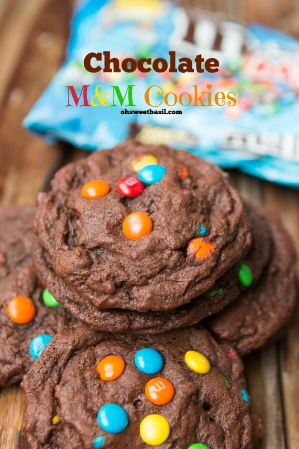 Oh my gosh, so addicting!! Chocolate M&M Cookies on ohsweetbasil.com