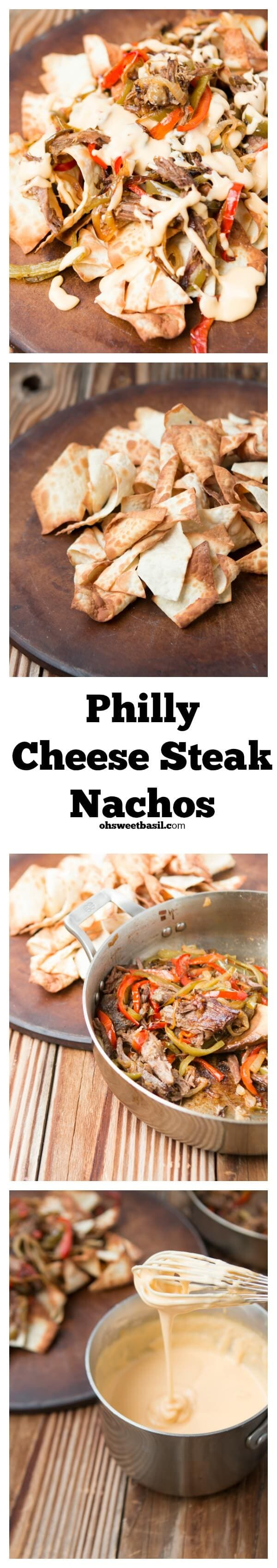 The BEST nachos ever! Philly cheese steak nachos for game day recipes ohsweetbasil.com.