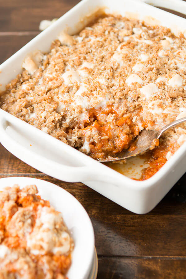 Our family's absolute favorite sweet potato casserole with marshmallows and a brown sugar crumb! ohsweetbasil.com