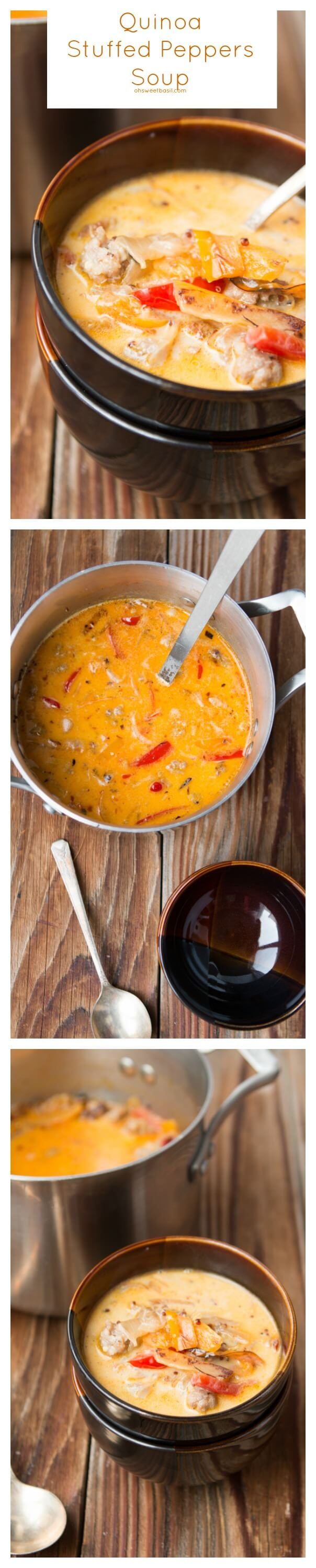 this soup is so easy to make and our whole family loves it. quinoa stuffed peppers soup ohsweetbasil.com.