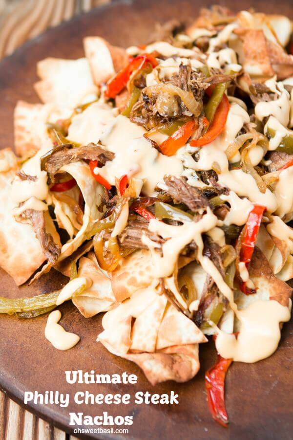 Nacho recipe of the year, Philly Cheese Steak Nachos ohsweetbasil.com