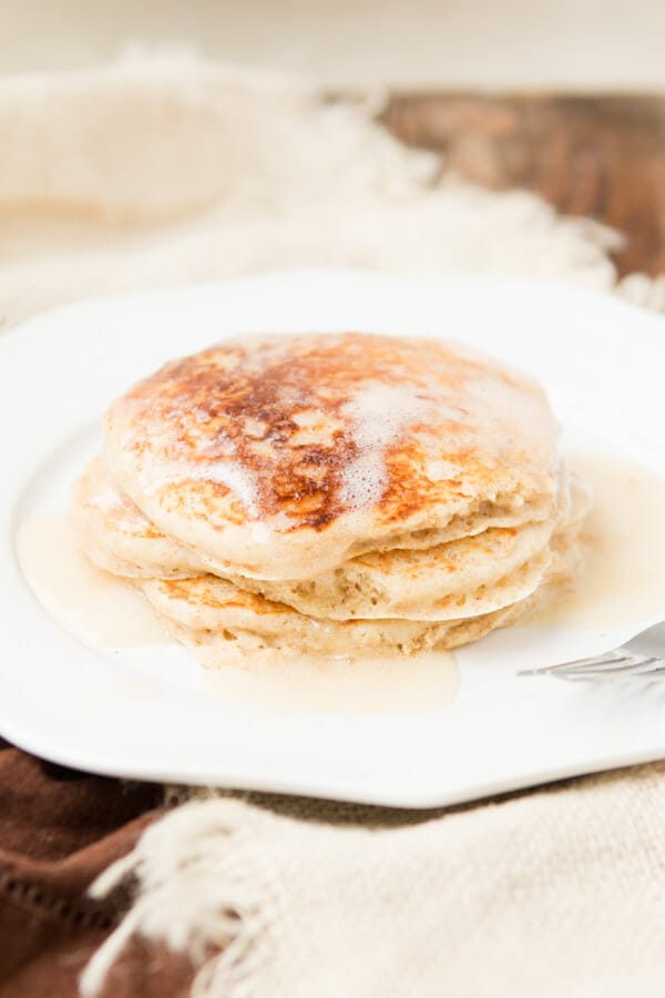Whole wheat buttermilk pancakes for breakfast! ohsweetbasil.com
