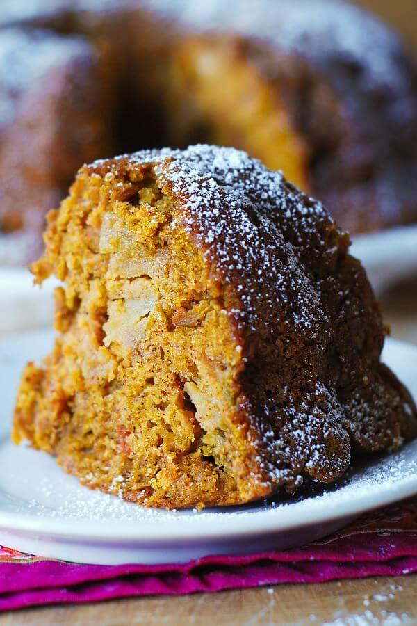 Pumpkin Apple Spice Bundt Cake - Oh Sweet Basil