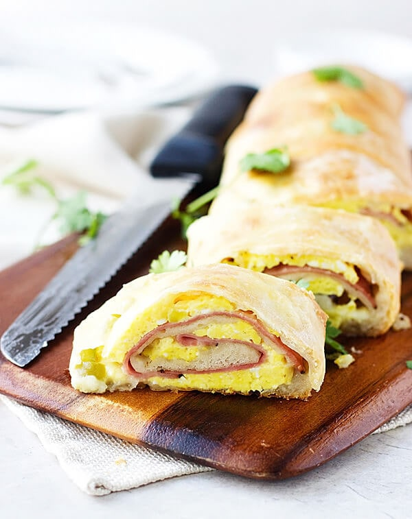 Ham and Cheese Breakfast Stromboli | ohsweetbasil.com