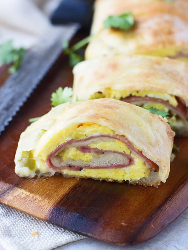 Ham and Cheese Breakfast Stromboli
