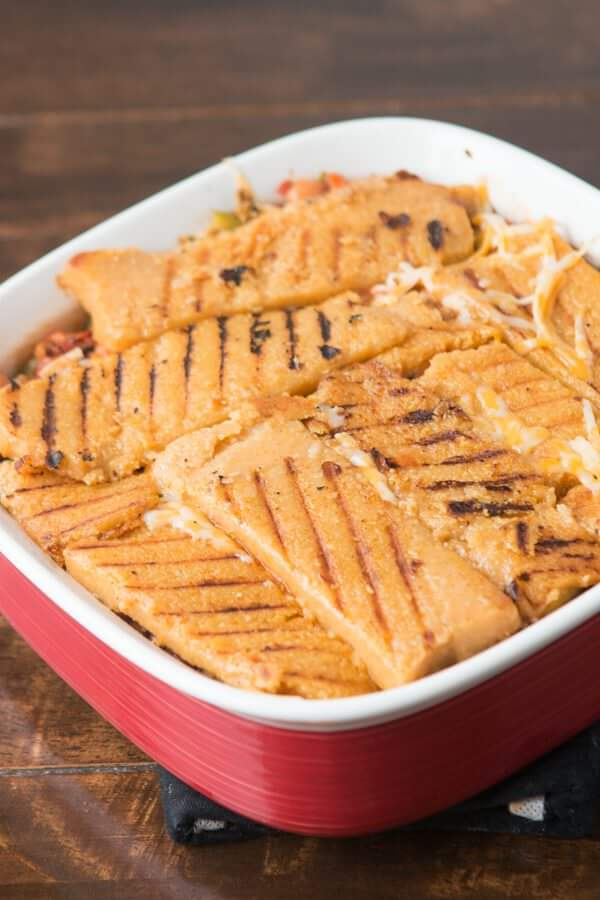Easy Polenta Enchilada Vegetarian Lasagna ohsweetbasil.com