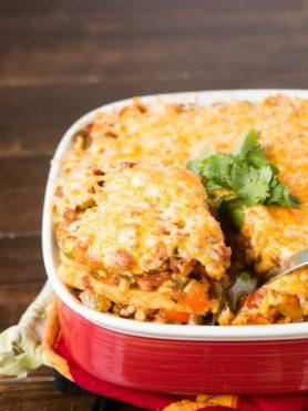 Polenta Enchilada Vegetarian Lasagna ohsweetbasil.com
