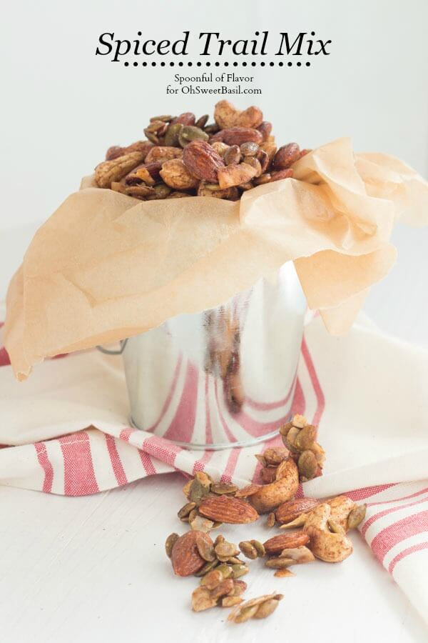 Spiced Trail Mix - a healthy serving of nuts, coconut and pepitas seasoned with spices creates a delicious snack!