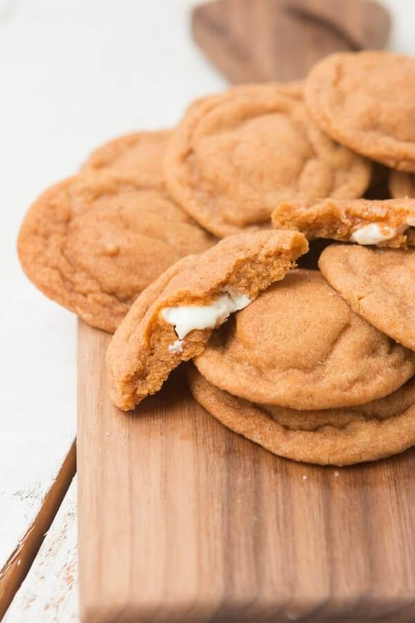 white chocolate stuffed pumpkin spice pudding cookies ohsweetbasil.com