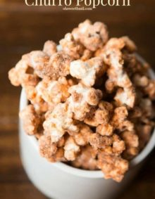 Churros are awesome, all sugary and delicious, but have you had churro popcorn? So yummy and it only takes a few simple ingredients.
