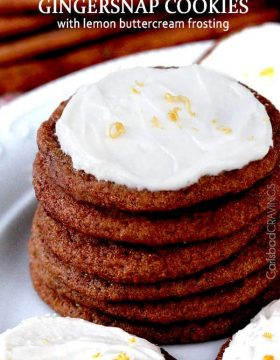 Soft and chewy gingersnap cookies with lemon buttercream frosting