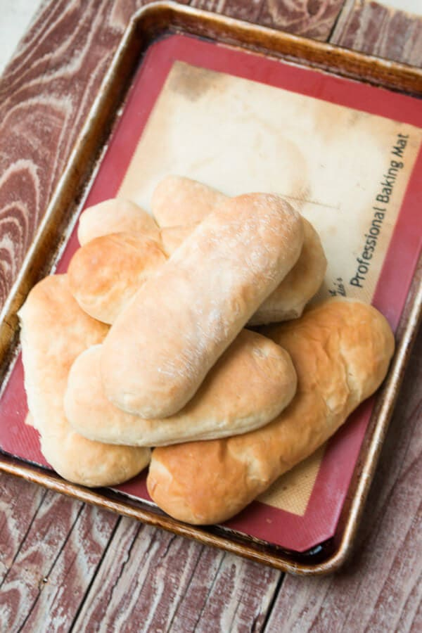 Easy hoagie rolls recipe! And it's all done in a mixer so no need to knead! ohsweetbasil.com