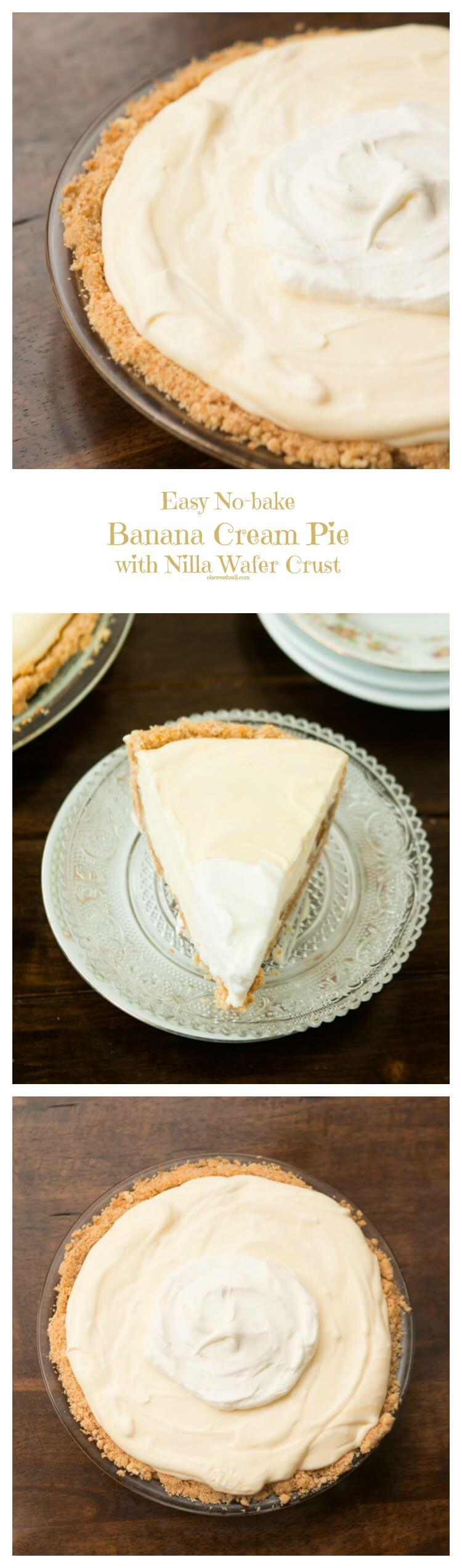 Easy No Bake Banana Cream Pie with a delicious nilla wafer crust ohsweetbasil.com
