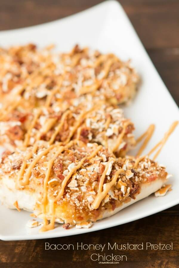 Kid pleasing bacon honey mustard pretzel chicken ohsweetbasil.com