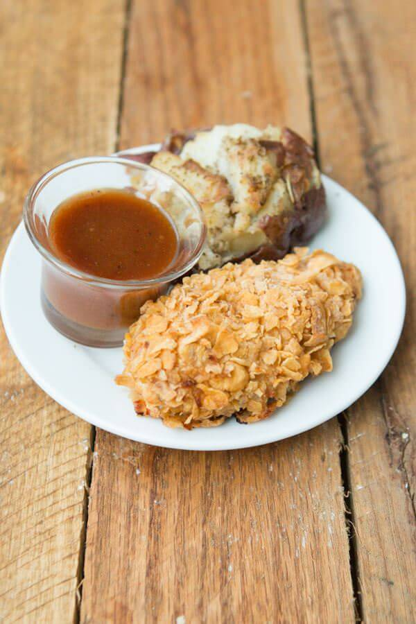 Why is this corn flakes baked chicken so good? Our family loves it! ohsweetbasil.com