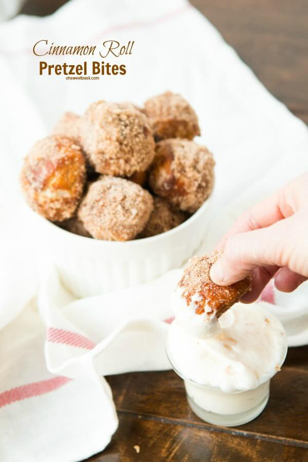Cinnamon Roll Pretzel Bites with Cream Cheese Dip! ohsweetbasil.com