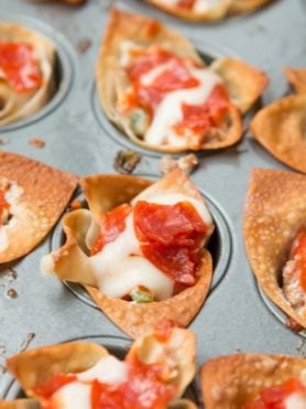 Pepperoni pizza dip cups for the best and easiest appetizer! ohsweetbasil.com
