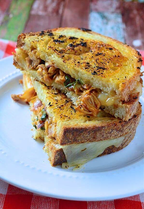 Bbq Chicken Grilled Cheese Sandwiches Oh Sweet Basil