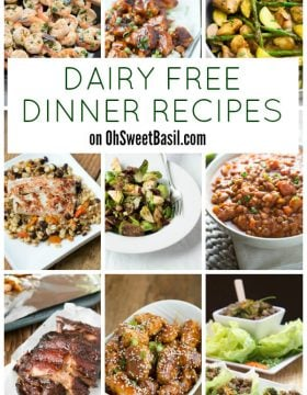 Dairy Free Dinner Recipes on OhSweetBasil.com - everything from lentil chili and alaskan halibut to baked sesame chicken and more!