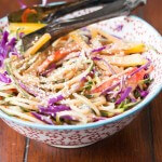 Easy Rainbow Salad with Peanut Dressing ohsweetbasil.com