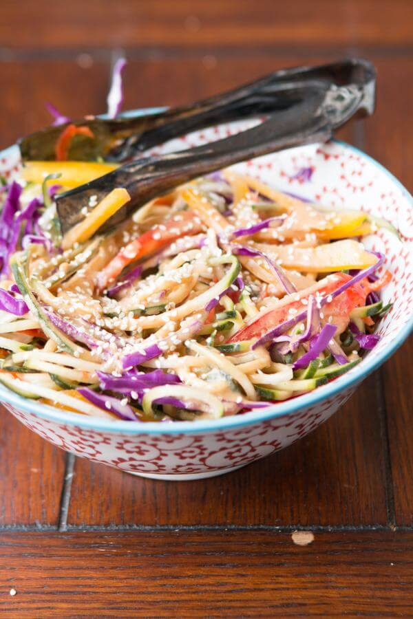 Easy Rainbow Salad with Peanut Dressing ohsweetbasil.com