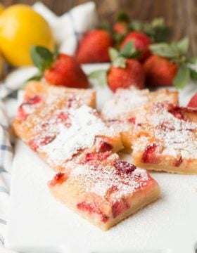 Strawberry Lemon Bars with a lovely tart crust ohsweetbasil.com