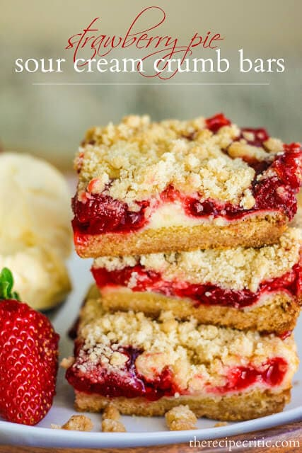 Strawberry Pie Sour Cream Bars with a lovely tart crust ohsweetbasil.com