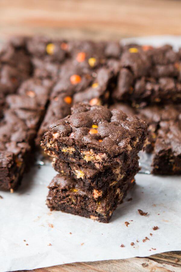 Triple Fudge Reese's Brownies ohsweetbasil.com