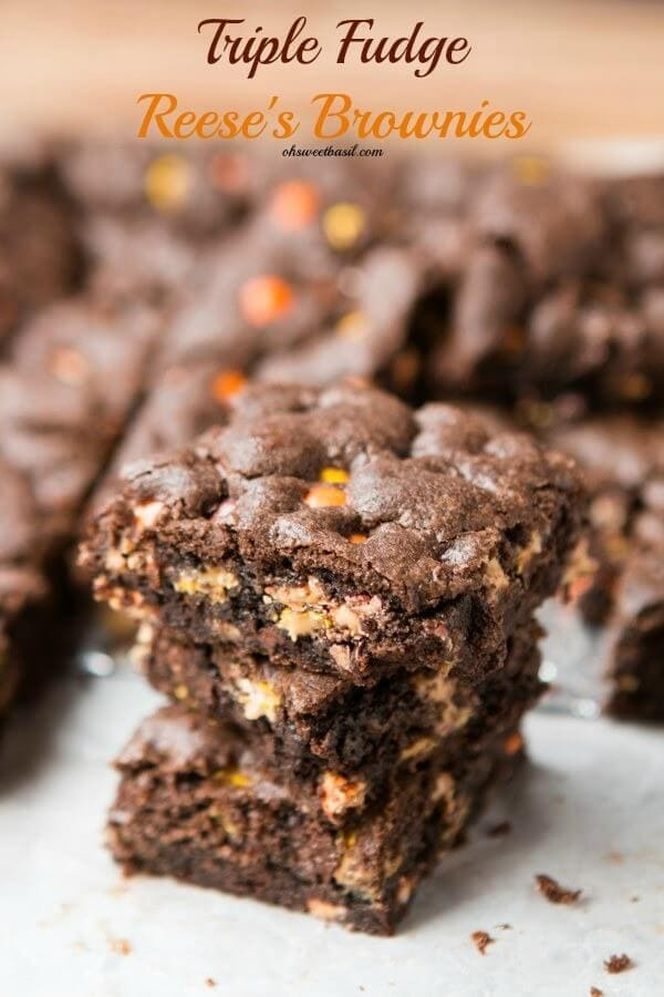 Triple Fudge Reese's Brownies! These were so easy to make and turned out perfect! ohsweetbasil.com