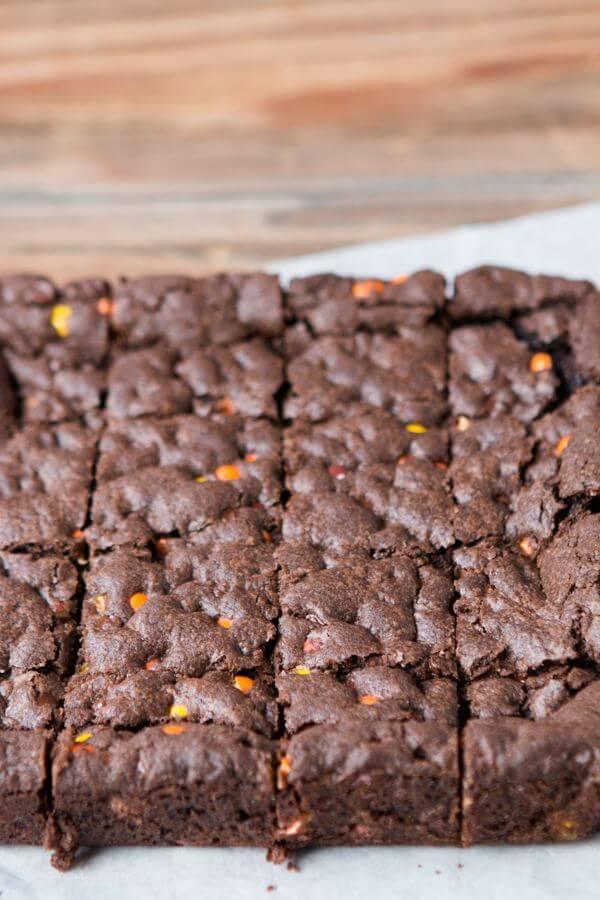 Easy Triple Fudge Reese's Brownies ohsweetbasil.com