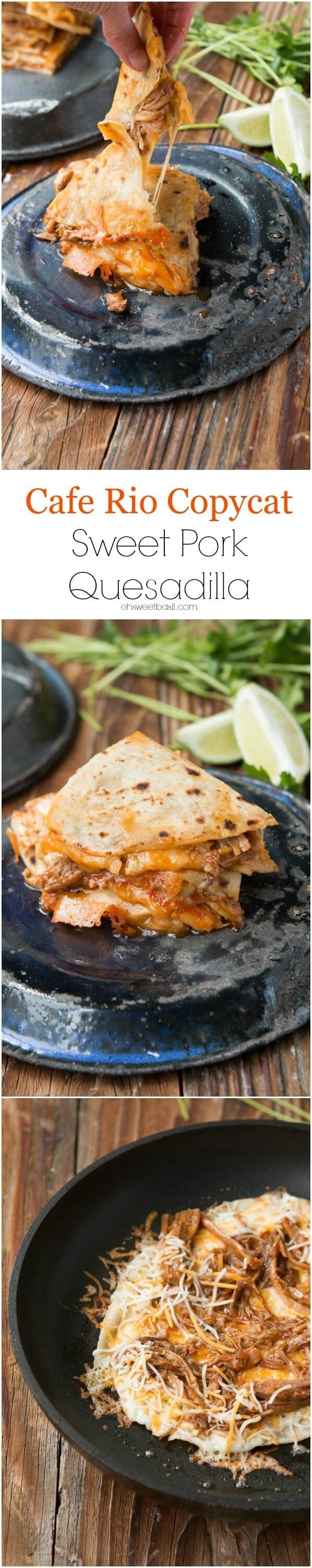 One of my favorite guilty pleasures is a cafe rio sweet pork quesadilla and now we can make them at home! ohsweetbasil.com