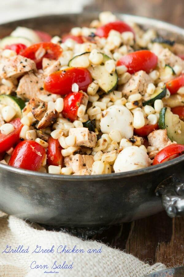 I love grilling recipes and on a warm summer evening there's nothing better than this Grilled Greek Chicken and Corn Salad!