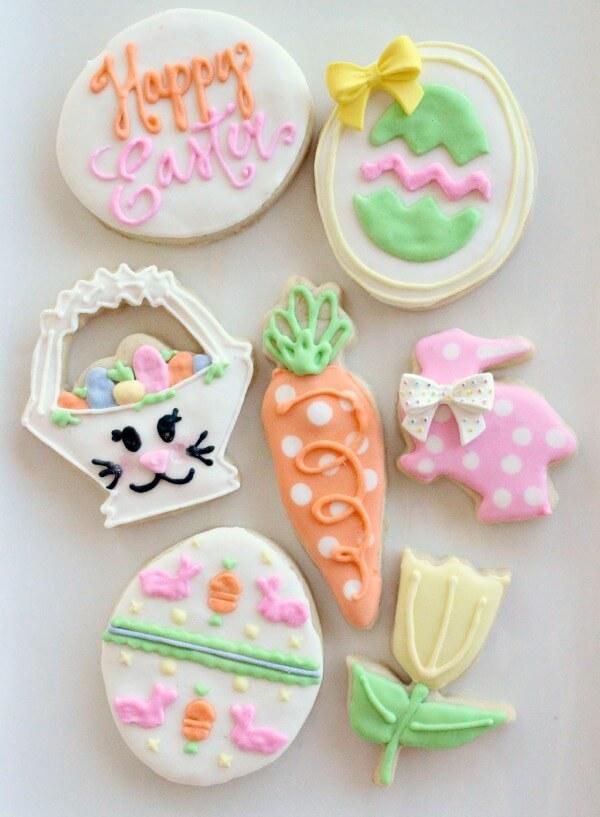 Bunny Face Easter Basket Cookies, sugar cookies