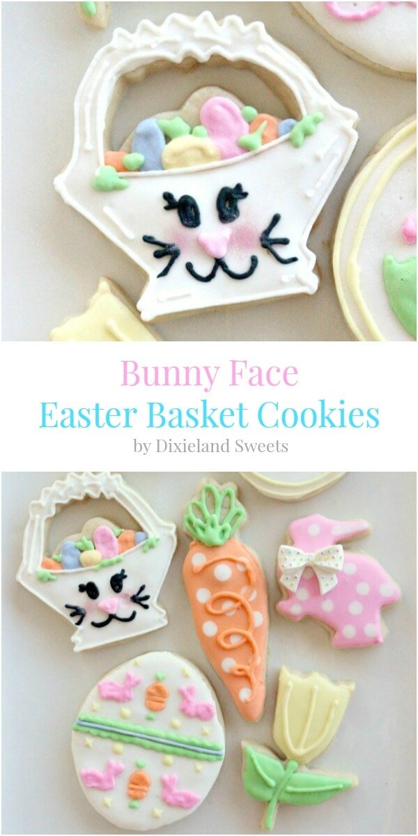 Bunny Face Easter Basket Cookies, sugar cookies