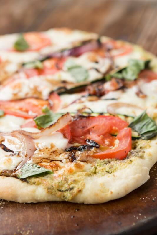 Grilled Vegetable Flatbread Pizza for 400 calories or less! ohsweetbasil.com Our Best Bites Healthy Grilled Vegetable Pizza ohsweetbasil.com