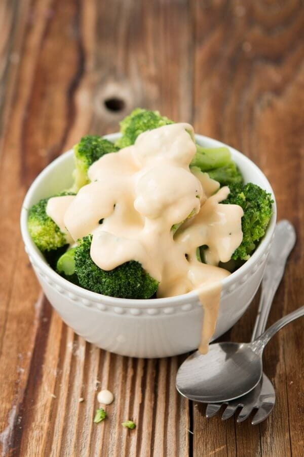 Broccoli and homemade, real cheese sauce. ohsweetbasil.com