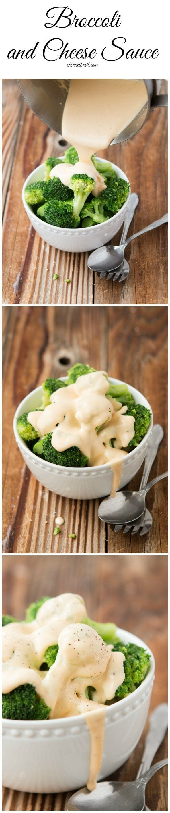 Broccoli with homemade cheese sauce (made with real cheese) ohsweetbasil.com