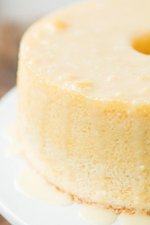 Citrus Chiffon Cake, it's light and airy like angel food and moist like cake ohsweetbasil.com summer dessert, glaze