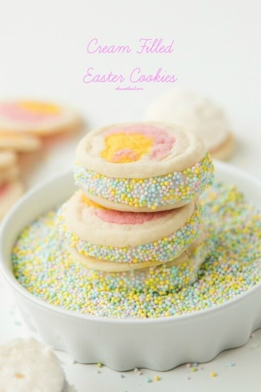 Our favorite Easter Cookies with Cream Filling! ohsweetbasil.com