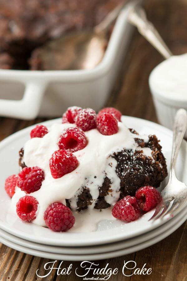 Rich Hot Fudge Cake ohsweetbasil.com