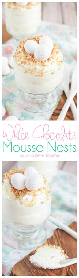 These White Chocolate Mousse Nests are the perfect finish to Easter dinner. A sweet and creamy white chocolate dessert topped with toasted coconut and white chocolate Cadbury eggs. Plus it's ready in 10 minutes!
