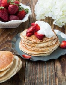 It's healthy so I can eat 50, right? Skinny Gluten Free Strawberry Shortcake Pancakes ohsweetbasil.com